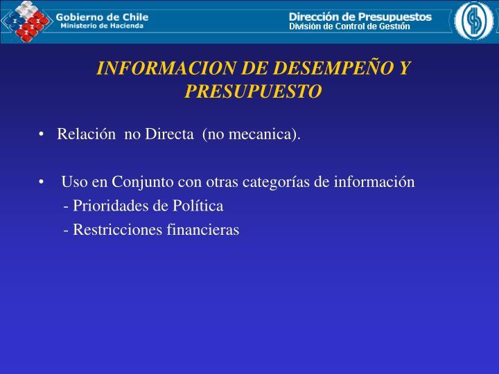 INFORMACION DE DESEMPEÑO Y PRESUPUESTO