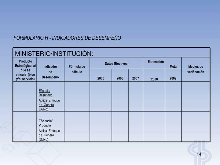 FORMULARIO H - INDICADORES DE DESEMPEÑO