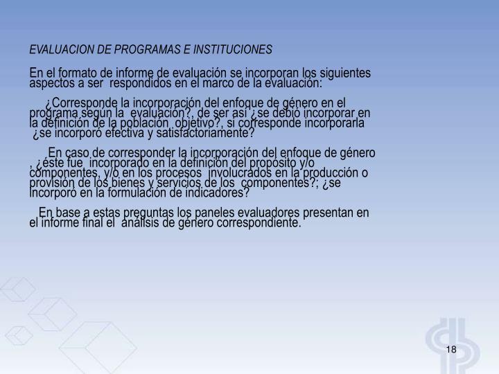 EVALUACION DE PROGRAMAS E INSTITUCIONES