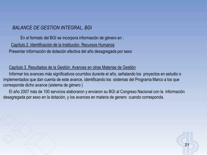 BALANCE DE GESTION INTEGRAL, BGI