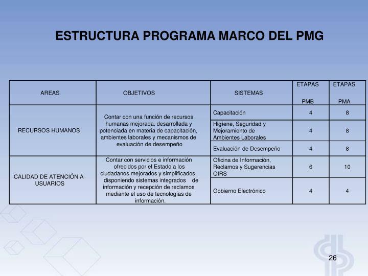 ESTRUCTURA PROGRAMA MARCO DEL PMG
