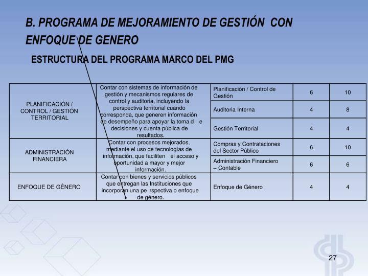 B. PROGRAMA DE MEJORAMIENTO DE GESTIÓN  CON
