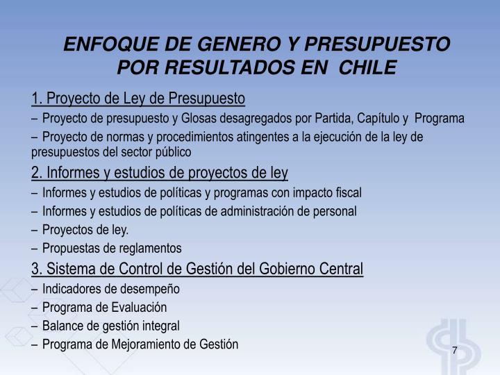 ENFOQUE DE GENERO Y PRESUPUESTO POR RESULTADOS EN  CHILE