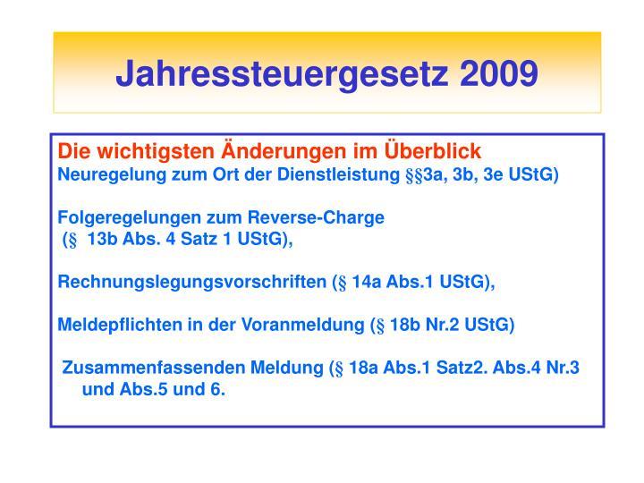 Jahressteuergesetz 2009