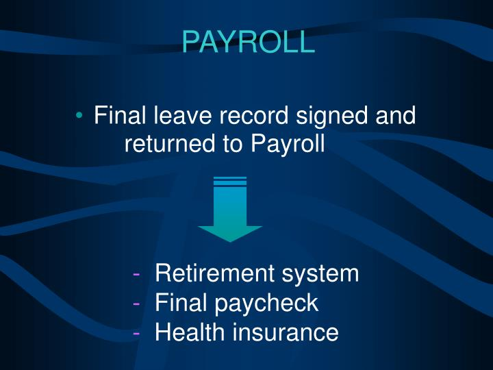 Final leave record signed and	returned to Payroll