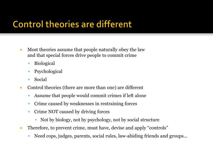 Control theories are different