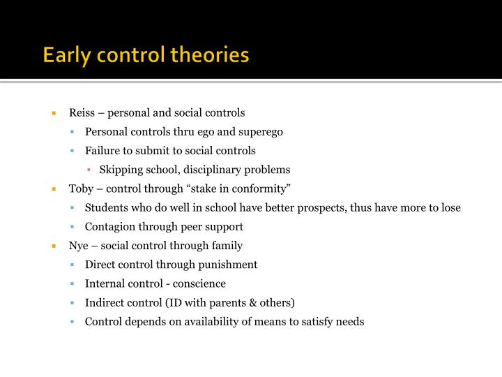 Early control theories