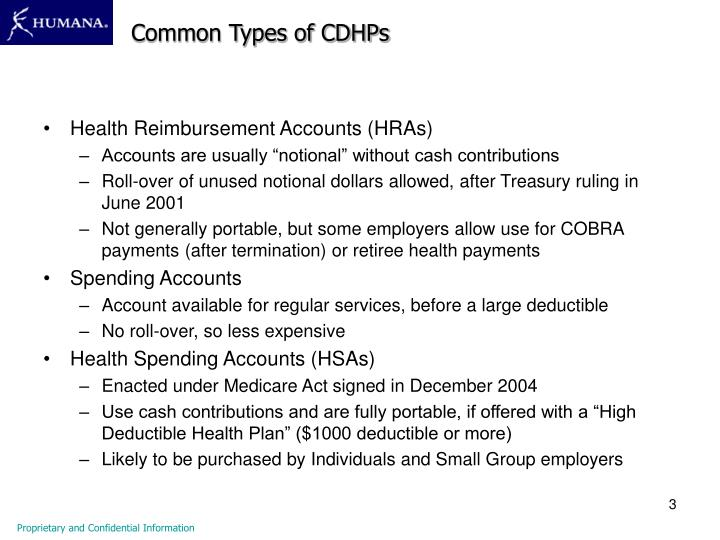 Common Types of CDHPs