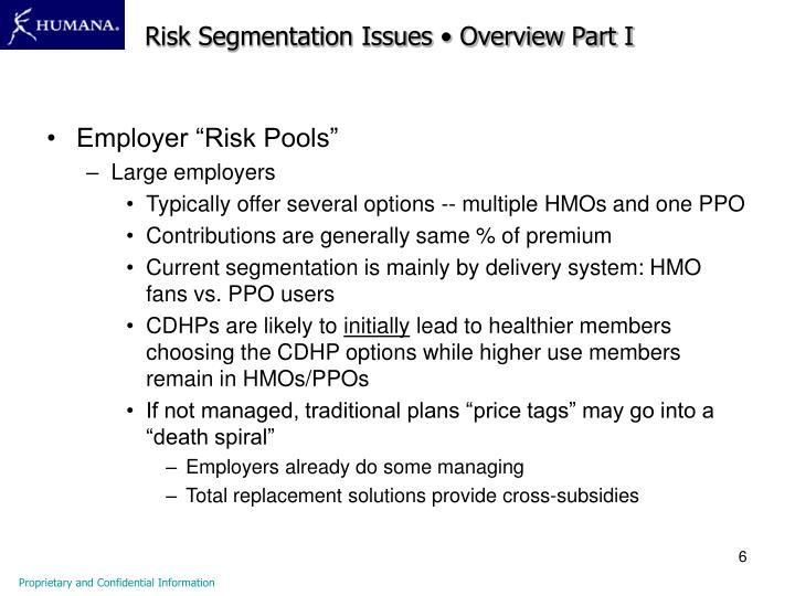 Risk Segmentation Issues • Overview Part I