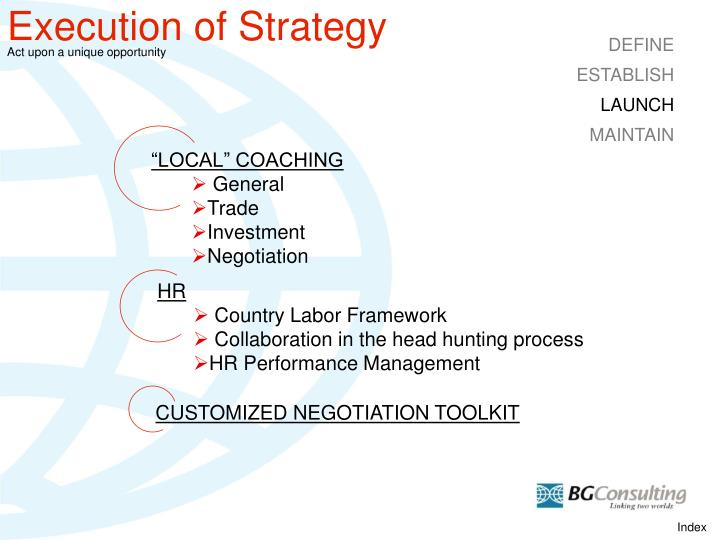 Execution of Strategy