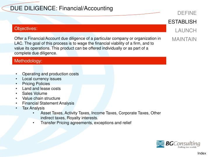 DUE DILIGENCE: Financial/Accounting