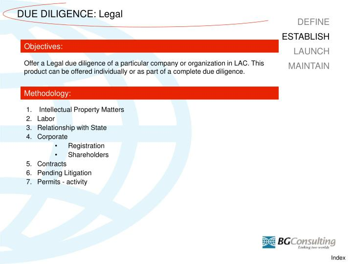 DUE DILIGENCE: Legal