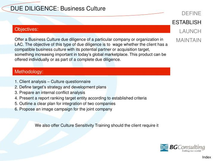 DUE DILIGENCE: Business Culture