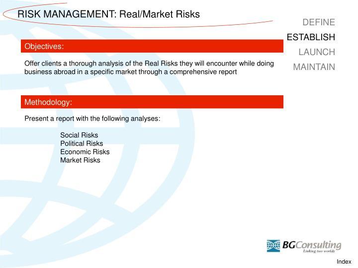 RISK MANAGEMENT: Real/Market Risks