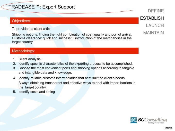 TRADEASE™: Export Support
