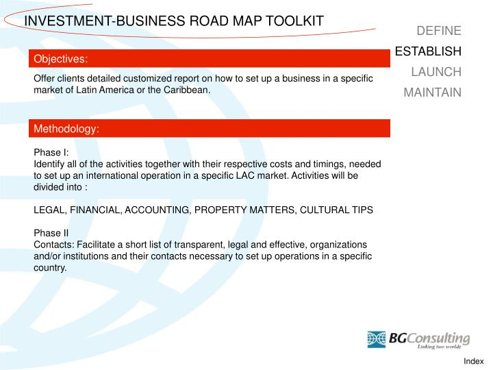 INVESTMENT-BUSINESS ROAD MAP TOOLKIT