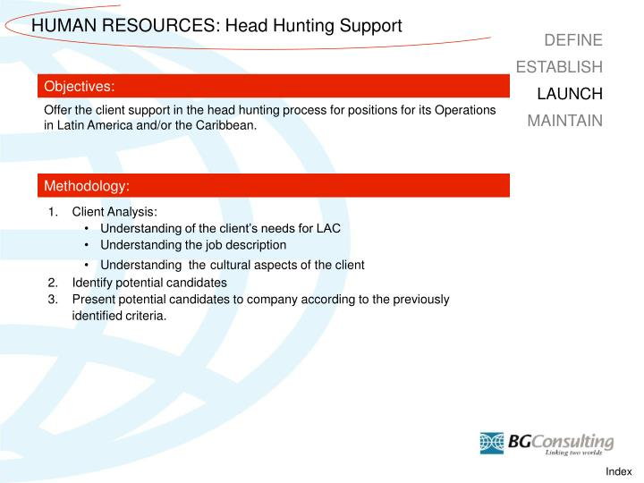 HUMAN RESOURCES: Head Hunting Support