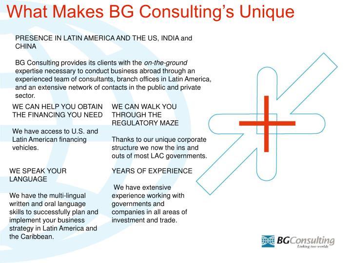 What Makes BG Consulting's Unique