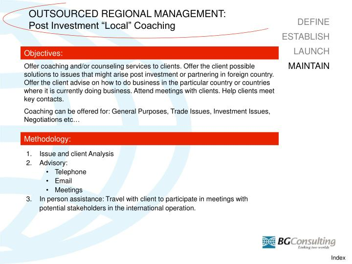 OUTSOURCED REGIONAL MANAGEMENT: