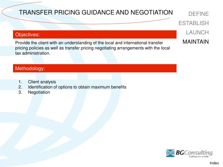 TRANSFER PRICING GUIDANCE AND NEGOTIATION