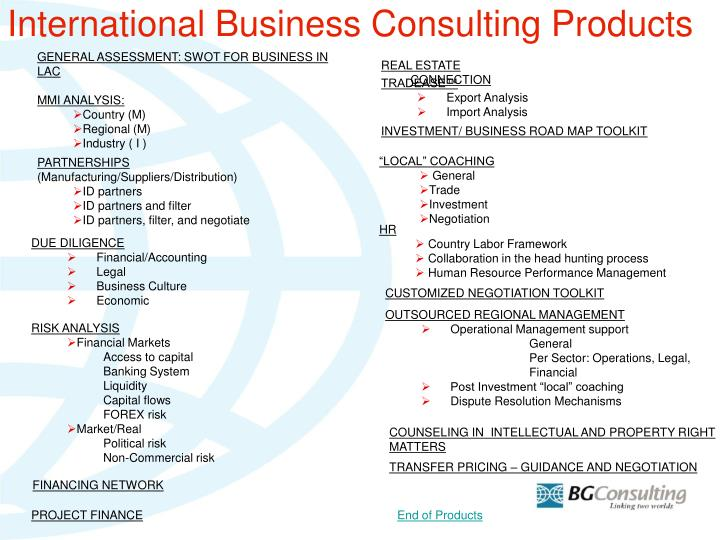 International Business Consulting Products