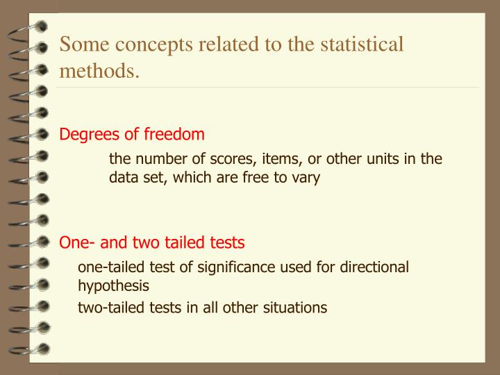 Some concepts related to the statistical methods.
