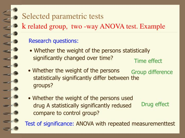 Selected parametric tests