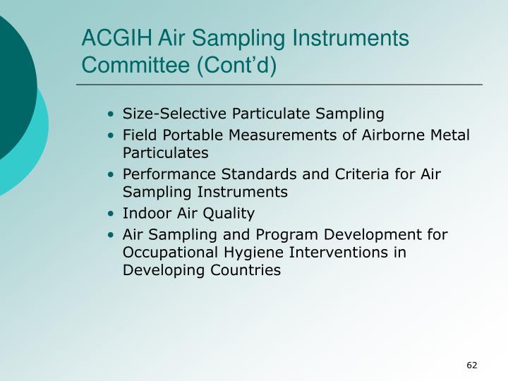 ACGIH Air Sampling Instruments Committee (Cont'd)