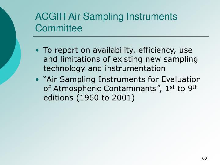 ACGIH Air Sampling Instruments Committee