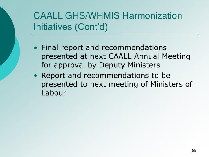 CAALL GHS/WHMIS Harmonization Initiatives (Cont'd)