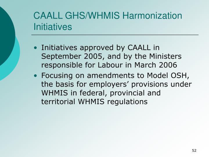 CAALL GHS/WHMIS Harmonization Initiatives