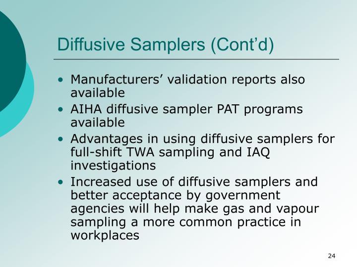 Diffusive Samplers (Cont'd)