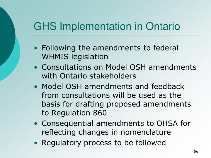 GHS Implementation in Ontario
