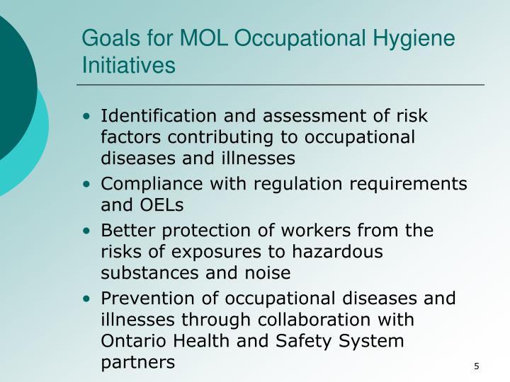 Goals for MOL Occupational Hygiene Initiatives