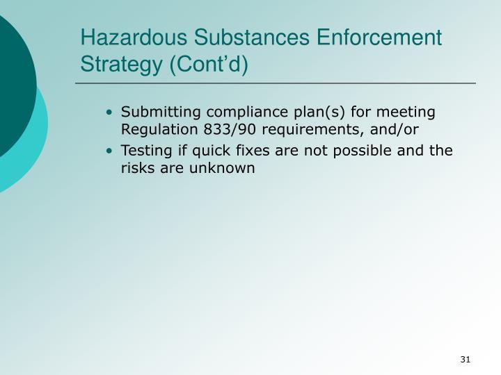 Hazardous Substances Enforcement Strategy (Cont'd)