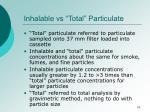 inhalable vs total particulate