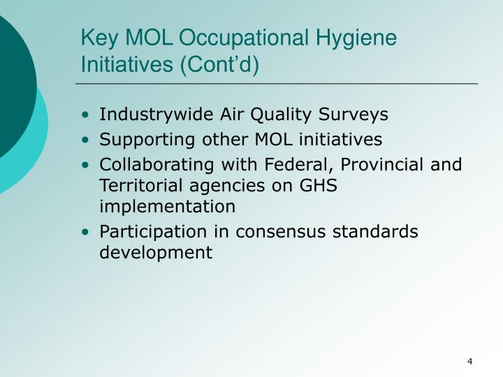 Key MOL Occupational Hygiene Initiatives (Cont'd)