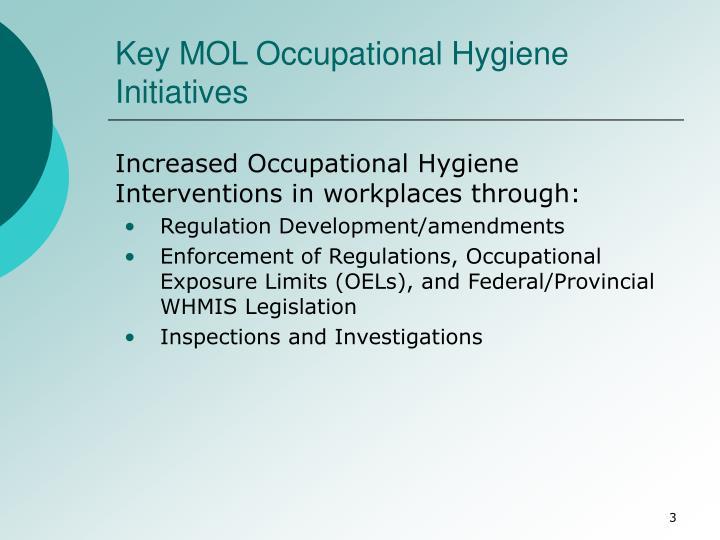 Key MOL Occupational Hygiene Initiatives