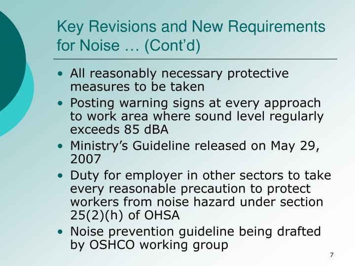 Key Revisions and New Requirements for Noise … (Cont'd)