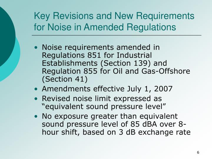 Key Revisions and New Requirements for Noise in Amended Regulations