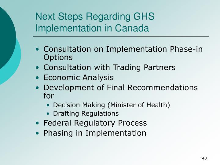 Next Steps Regarding GHS Implementation in Canada