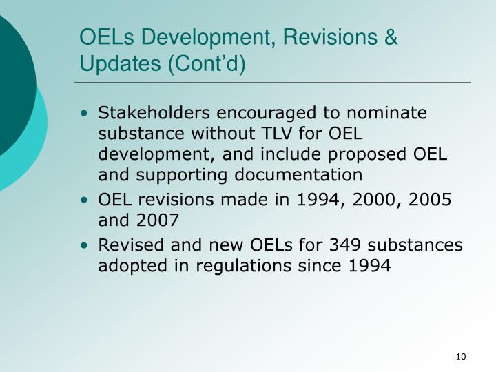 OELs Development, Revisions & Updates (Cont'd)
