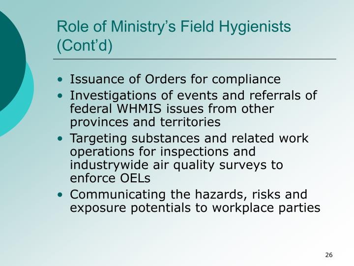 Role of Ministry's Field Hygienists (Cont'd)
