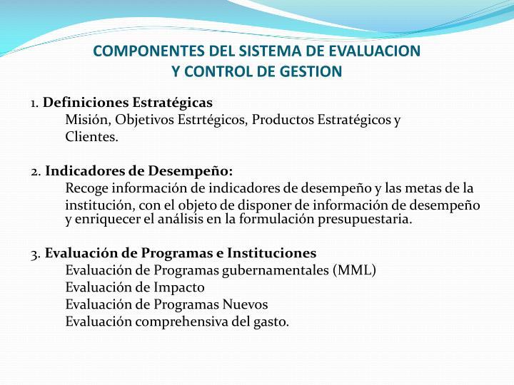 COMPONENTES DEL SISTEMA DE EVALUACION