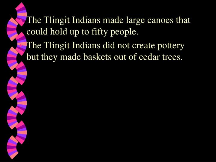 The Tlingit Indians made large canoes that could hold up to fifty people.