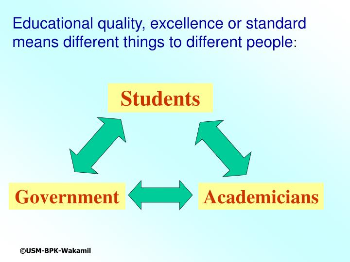 Educational quality, excellence or standard means different things to different people