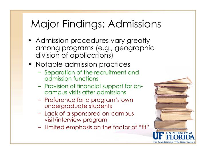 Major Findings: Admissions