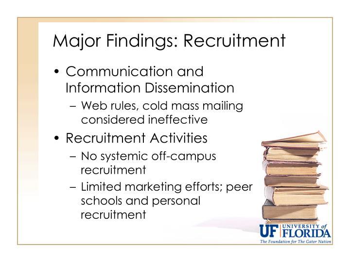 Major Findings: Recruitment