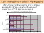 major findings relative size of phd programs
