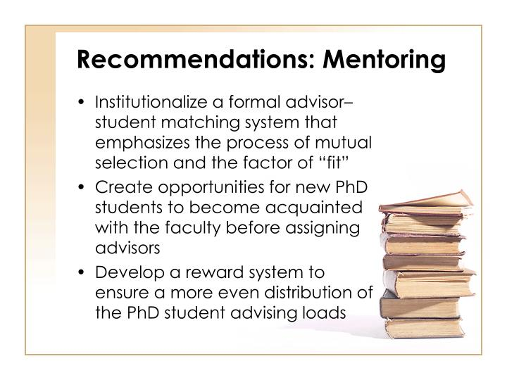 Recommendations: Mentoring